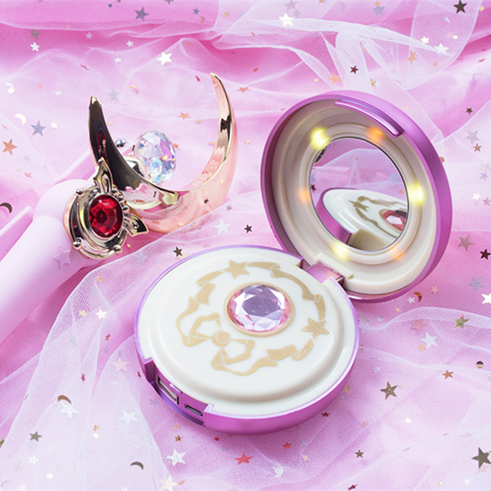 Portable Charger Cosmetic Mirror Light Cosplay Anime Sailor Moon Compact Power Bank Support Wireless ChargePortable Charger Cosmetic Mirror Light Cosplay Anime Sailor Moon Compact Power Bank Support Wireless Charge