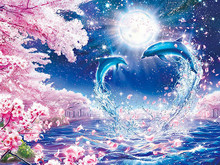 5D Diy Diamond Painting Cross Stitch Peach Blossom and Love Dolphins Full  Custom Photo Drop Shipping
