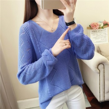 Women Sweaters And Pullovers Autumn Winter V-neck Long Sleeve Pull Femme Solid Pullover Female Casualhollow Out Knitted Sweater 2019 new women sweaters and pullovers autumn winter long sleeve pull femme striped pullover female casual knitted sweater
