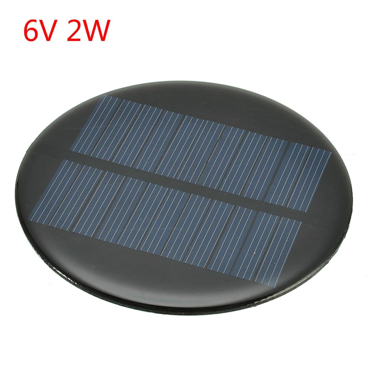 6V 2W 0.35A Solar Power 80MM DIY Mini Polycrystalline Silicon Solar Cell Module Circle Round Solar Panel Epoxy Board