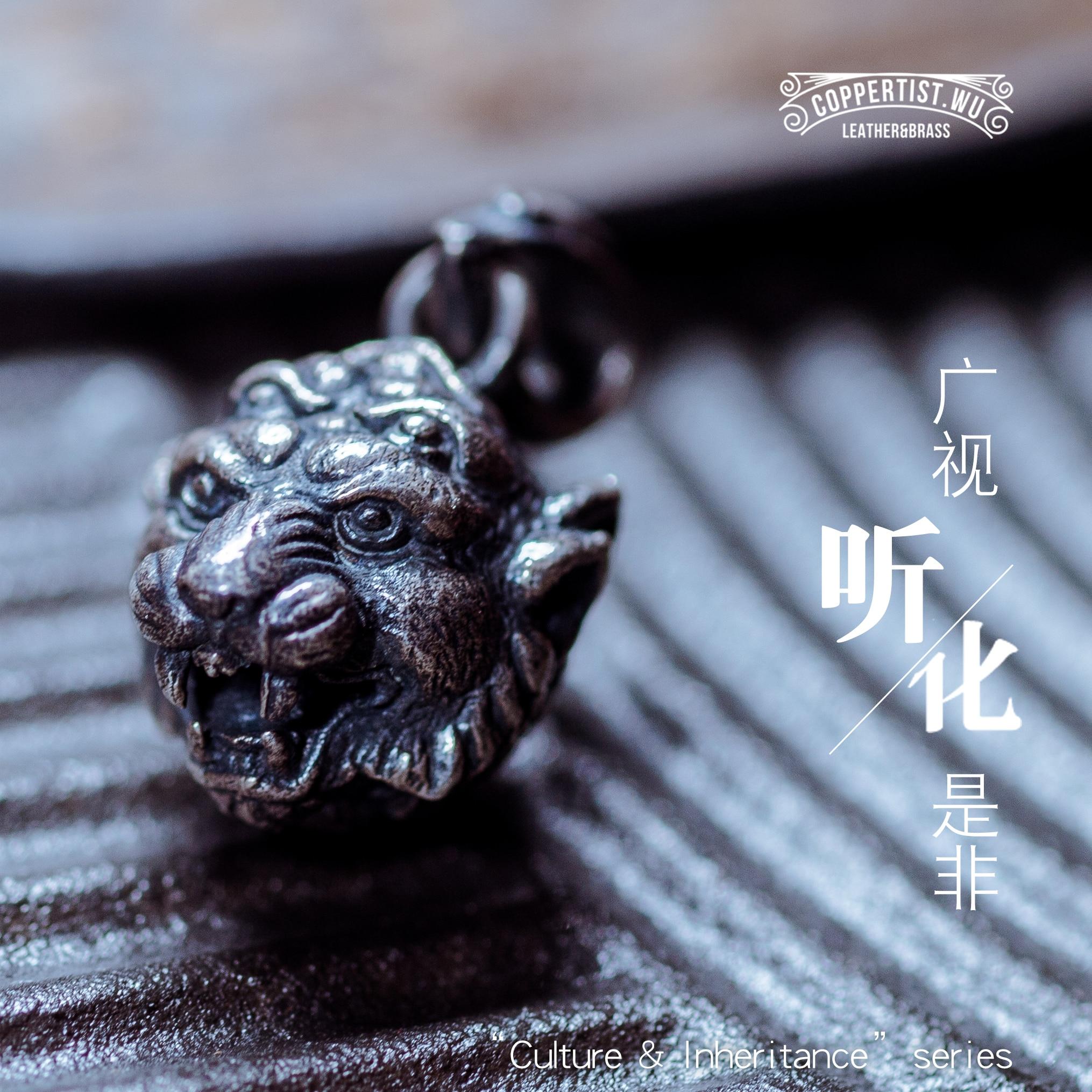 Coppertist. wu Tigre Tête S925 argent porte-clés porte-clés à la main argent de mode animal clé sac à main sangle en anneau Pendentif