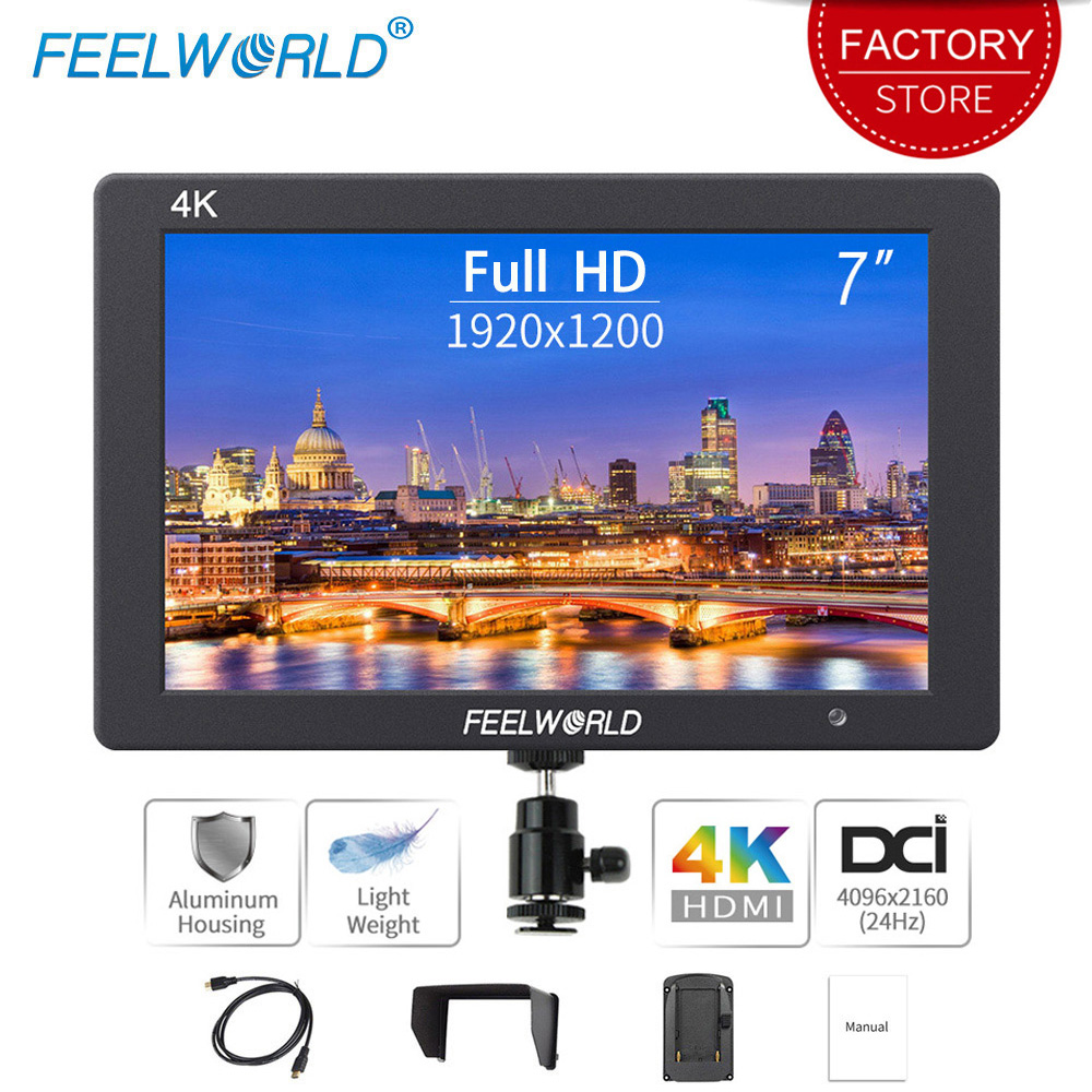 Feelworld T7 7 Inch On Camera Field DSLR Monitor 4K HDMI Ultra Full HD 1920x1200 LCD IPS Display Portable For Sony Nikon Camera