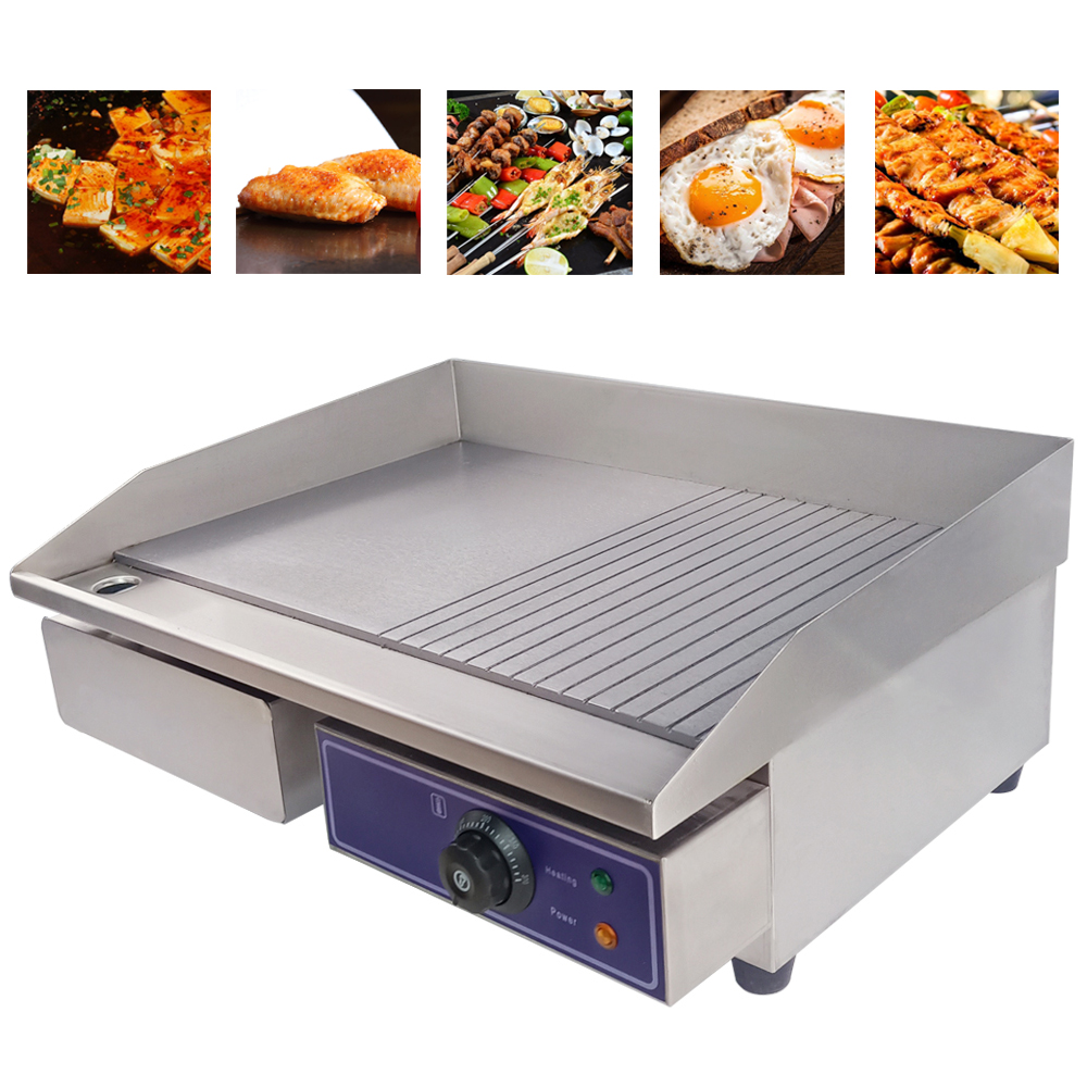 Stainless Steel Electric Grill Griddle Half Flat Plate Commercial Flat Pan Grills Suitable For Hotels Restaurants