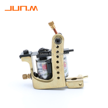 Handmade copper Tattoo Machine 12 coils beautifully carved shader and Liner tattoo gun Free Shipping