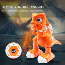 2CH Remote Control Robot Dinosaur with Shooting Bullet Smoke Effect LED light Sound Gift RC Kids Toys RC Robots(China)