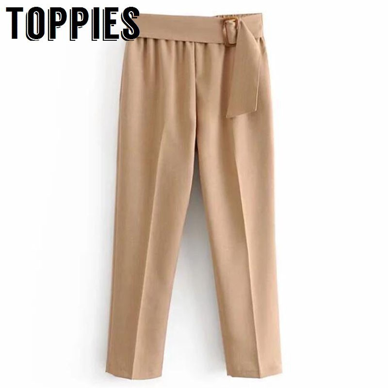 Khaki Pencil Pants Belt Waist Ladies Suit Pants Women High Waist Trousers 2019 Spring Pantalones Mujer