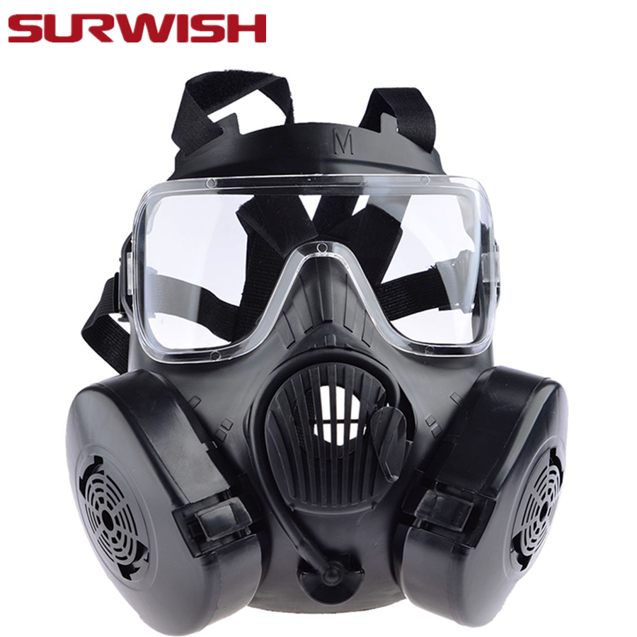 SURWISH Tactical War Game Paintball Full Face Skull Mask CS Gas Mask With Fan M50 Party