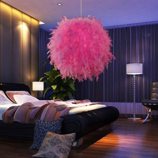 Hot Feather Ball Modern Ceiling Light Soft Led Light Bulb Lamp Screw Bedroom Pendant Lights Rose Pink White E27 Bulb Lamp 220V