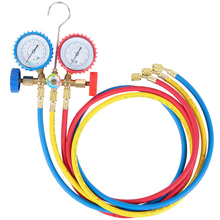 R134A R12 R22 R502 Current Divider Meter Tools Set Air Conditioning AC Manifold Gauges Double Table Valve with 3 Colors Hose