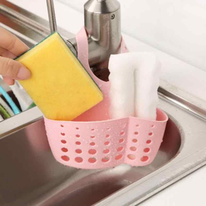 Bonito Esponja Rack De Armazenamento De Plástico Ajustável Cesta Organizador de Cozinha Esponja de Drenagem Titular Toalhinha Prateleira Sabão Banheiro Organizador