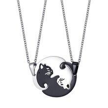 Aiovlo 1 par de empalme lindo su y su collares de parejas de acero inoxidable querido Gato COLLAR COLGANTE para amado regalo