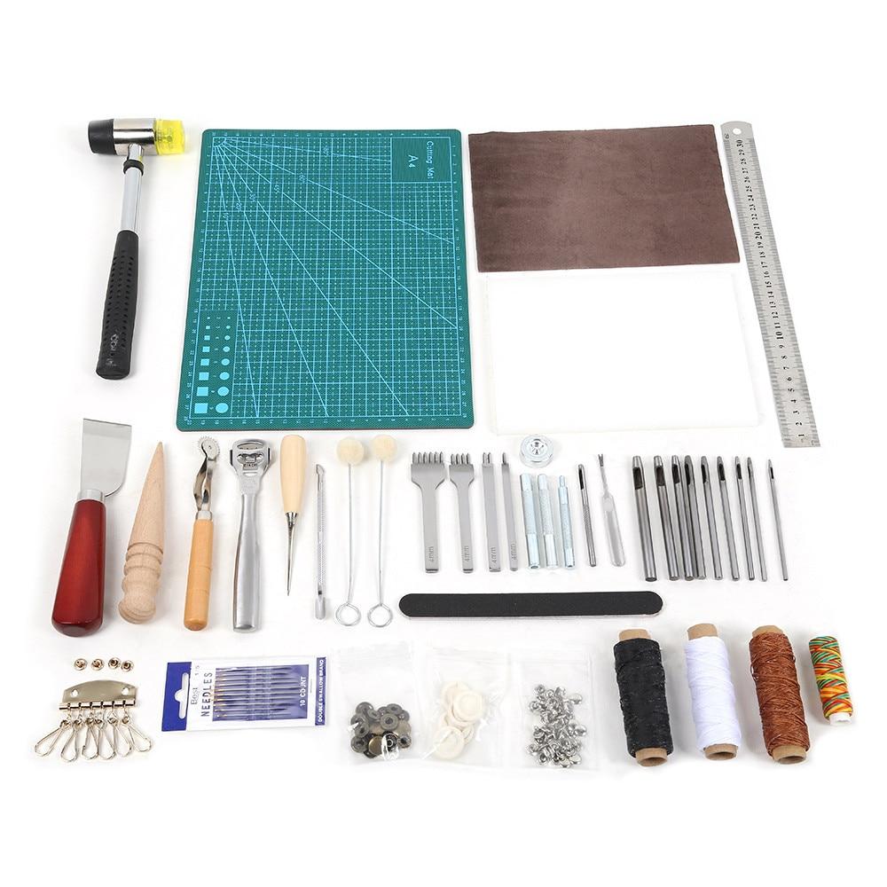 42 pièces cuir artisanat outils poinçon Kit couture travail couture poinçon sculpture travail selle maroquinerie couture ensemble accessoires