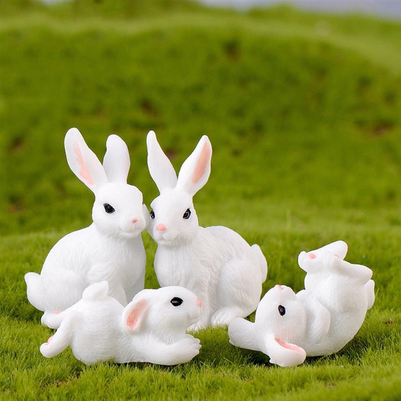 4pcs/Set New Kawaii Resin White Rabbit Figurines Bonsai Micro Landscape Dollhouse Ornaments Mini Craft Miniatures