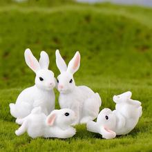 4pcs/Set New Kawaii Resin White Rabbit Figurines Bonsai Micro Landscape Dollhouse Ornaments Mini Craft Miniatures