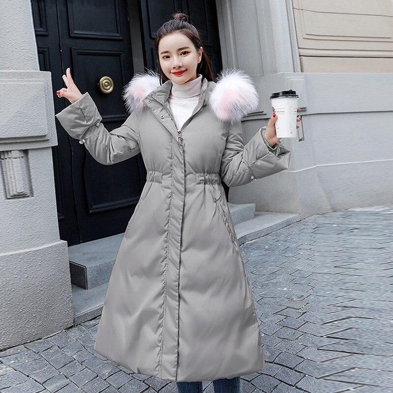 Survêtement Coton rembourré Fourrure pink De Col Veste Grand Femmes Longues White Manteau gray Manches Hiver Chaud Mode Capuchon Épais Perles Parker Arc À nxHfB
