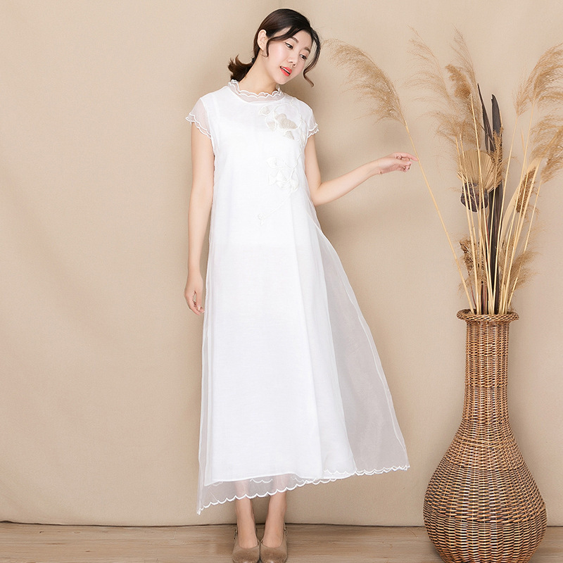2019 new summer models Yunnan embroidery women 39 s organza embroidered dress oversize sleeveless long dress female in Dresses from Women 39 s Clothing