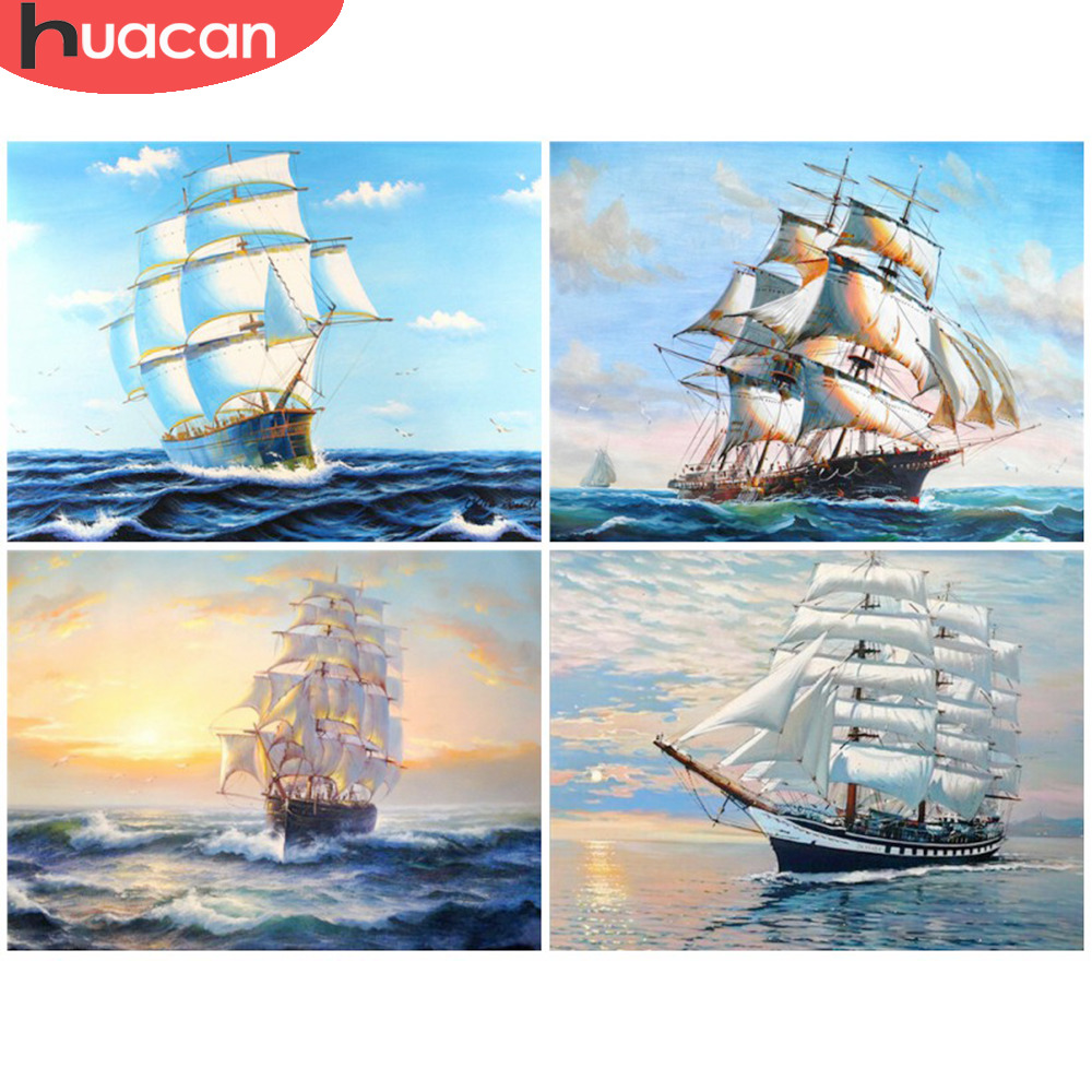 HUACAN Ship Diamond Måla Cross Stitch Needlework Craft Gift DIY 5D Diamond Mosaic Broderi Landskap Mönster Rhinestone
