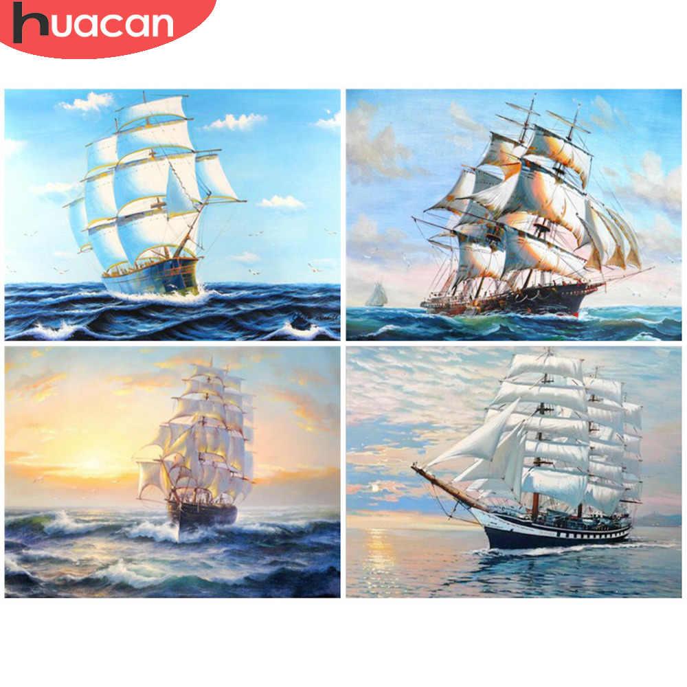 HUACAN statek diament malarstwo Cross Stitch szycie rękodzieło prezent DIY 5D mozaika z haftu diamentowego krajobraz wzory Rhinestone