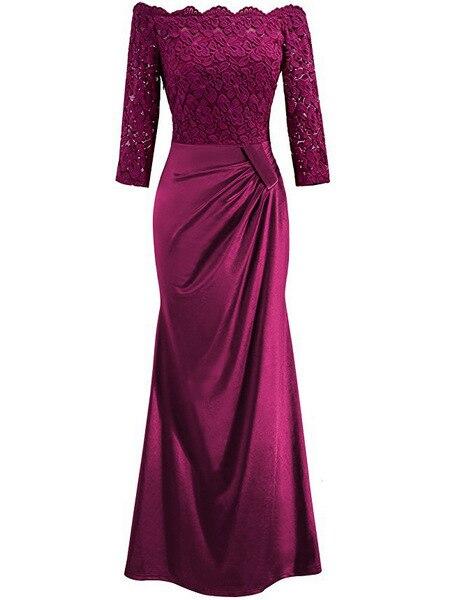 Вечерние платья Длинные 2018 бордовый с открытыми плечами длинным рукавом Русалка Новое поступление Вечеринка платья