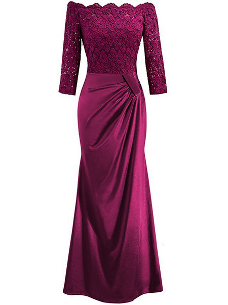 Evening     Dresses   Long 2018 Burgundy Off Shoulder Long Sleeve Mermaid New Arrival   Evening   Party Gowns