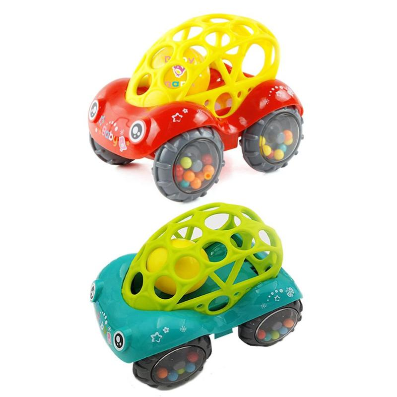 Baby Grasp Practice Rattles Crib Toy Cartoon Car Shape Mobile Stroller Toys for Newborns Toddlers Bed Crib Hanging Gift