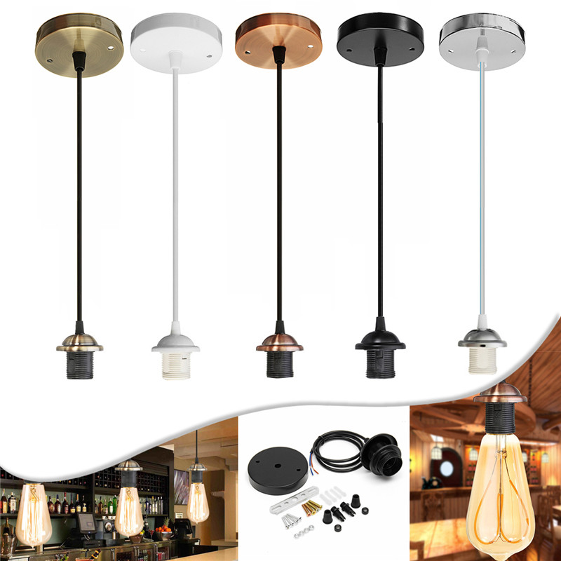 E27 <font><b>Lights</b></font> Interior Chandelier with Ceiling Chandelier Craft Screw Ceiling Rose Lamp PVC Fabric Flex Lamp AC110V image