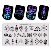 Beautybigbang Stainless Steel Template Nail Art 6*12cm Geometric Assemble Theme Image Stamping Plates XL-055