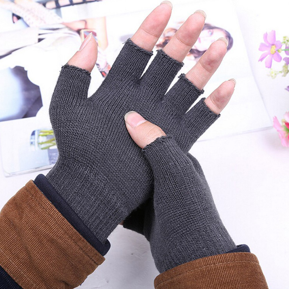 Unisex Winter Warm Knitted Half Finger Gloves Women Men's Solid Black Gray Fingerless Stretchy Elastic Mittens Guantes Mujer