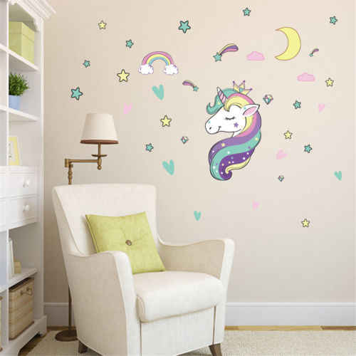 Unicorn Star Heart Wall Stickers Removable S Kids Nursery Room Decor For Home Decorations Fairy Tale Cartoon Mural