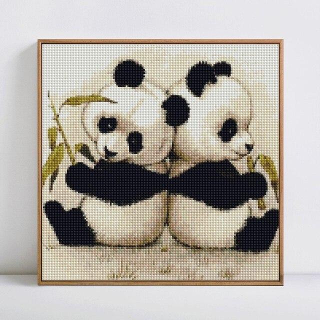 HUACAN 5D DIY Diamond Painting Panda Diamond Mosaic Animal Full Square Drill Diamond Embroidery Handmade Decor