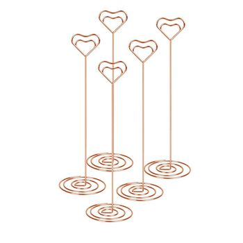 10pcs 8.6 Inch Tall Place Card Holder Table Number Holder Table Card Holder Table Number Stands with Heart Shap Photo Memo Cli