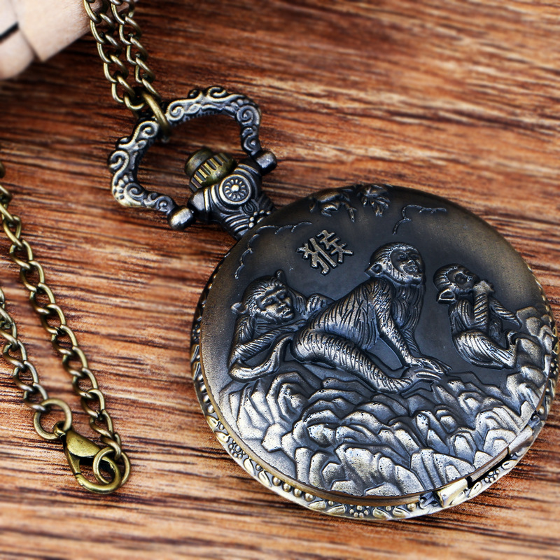 Pocket & Fob Watches Chinese Zodiac Animal  Monekys Quartz Pocket Watches Vintage Fob Watches  Gift for Men/Women