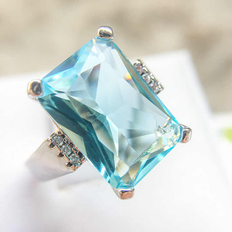 5 Colors Big Ocean Blue CZ Cubic Zircon Stone 925 Silver Rings For Women Fashion Engagement Silver Jewelry Valentines Day Gift