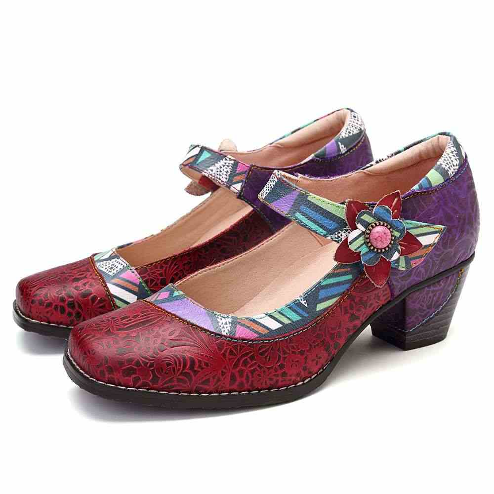 SOCOFY Retro Hakiki Deri Çiçek Rahat Retro Pompalar Mokasen Bohemia rahat ayakkabılar Kadın Ayakkabı Bahar Sonbahar rahat ayakkabılar Yeni
