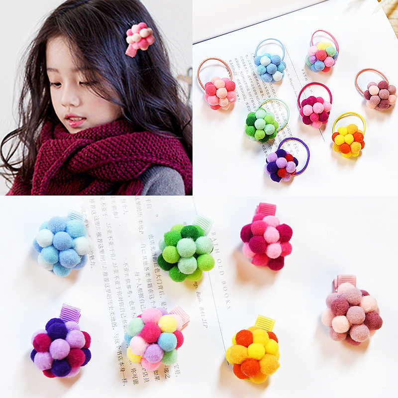 Fluffy Balls Mini Hair Tie Hairpins Candy Colors Adjustable Hair Rope Ponytail  Holder Children Kids Girls 29087e62b01