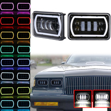 цены 4X6 Car LED Headlight Square Light RGB Halo White DRL Turn Signal Sealed High/Low Beam Replacement For Ford Trucks Offroad