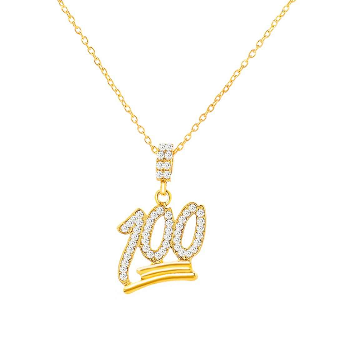 Shellhard Charm Bling Rhinestone Chain Necklace Gold Silver Color Crystal Emoji 100 Pendant Necklace Men Hip Hop Jewelry