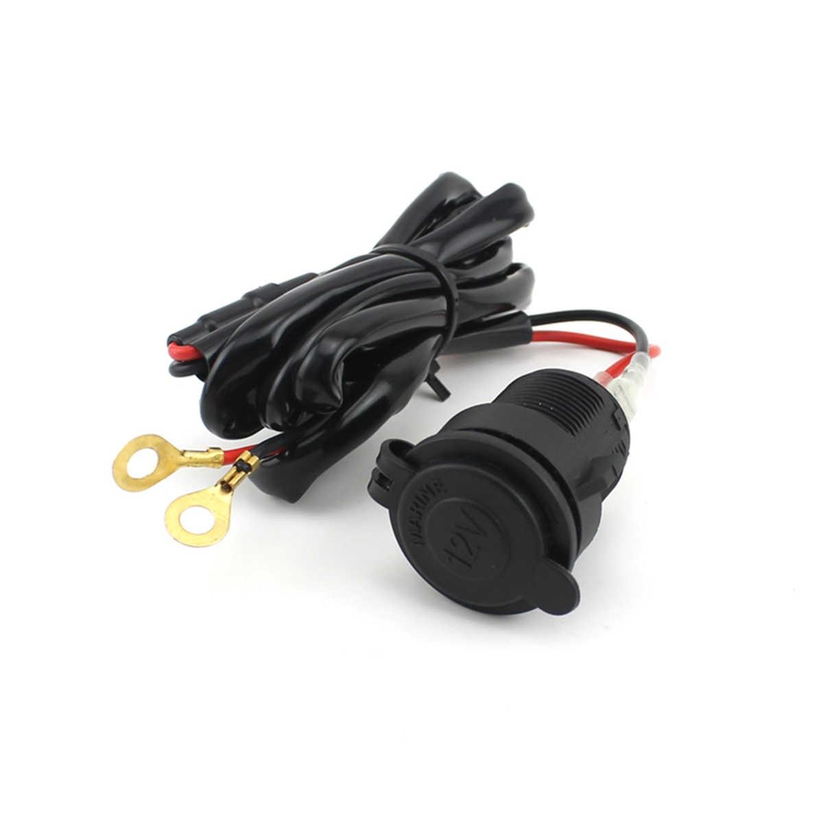 Mobil Sepeda Motor Wanita Pemantik Charger Adaptor 12 V Plug Socket Outlet dengan 1.5 M Fuse Line Kawat untuk GPS /Ponsel/MP3
