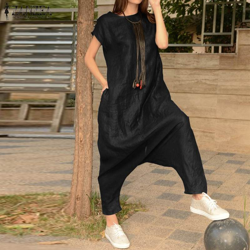 Summer   Jumpsuits   2019 ZANZEA Overalls Women Drop Crotch Female Short Sleeve Rompers Combinaison Femme Cargo Pants Solid Palazzo