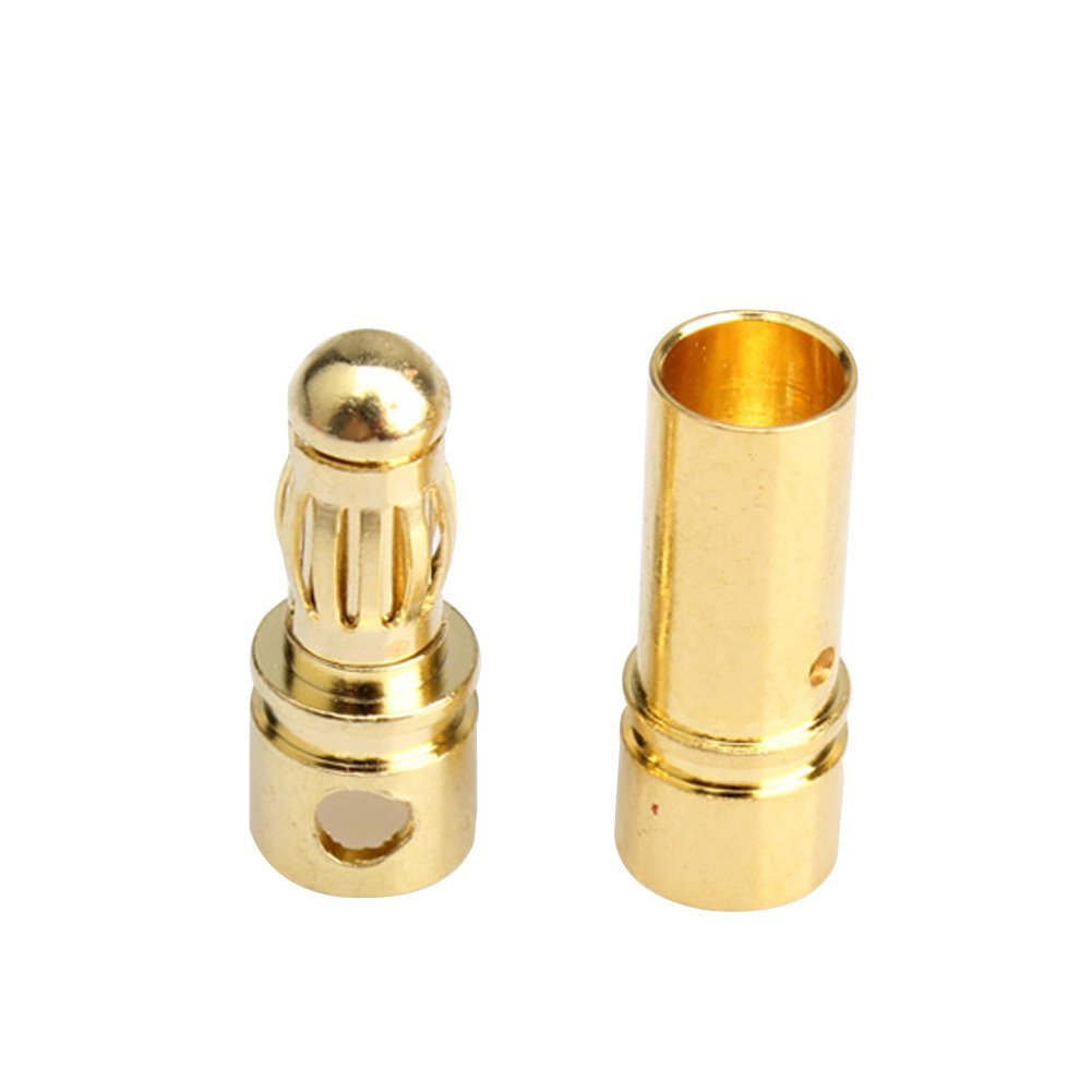 20 Pair 3.5mm Gold Plated Ball Banana Connectors RC Battery Gold