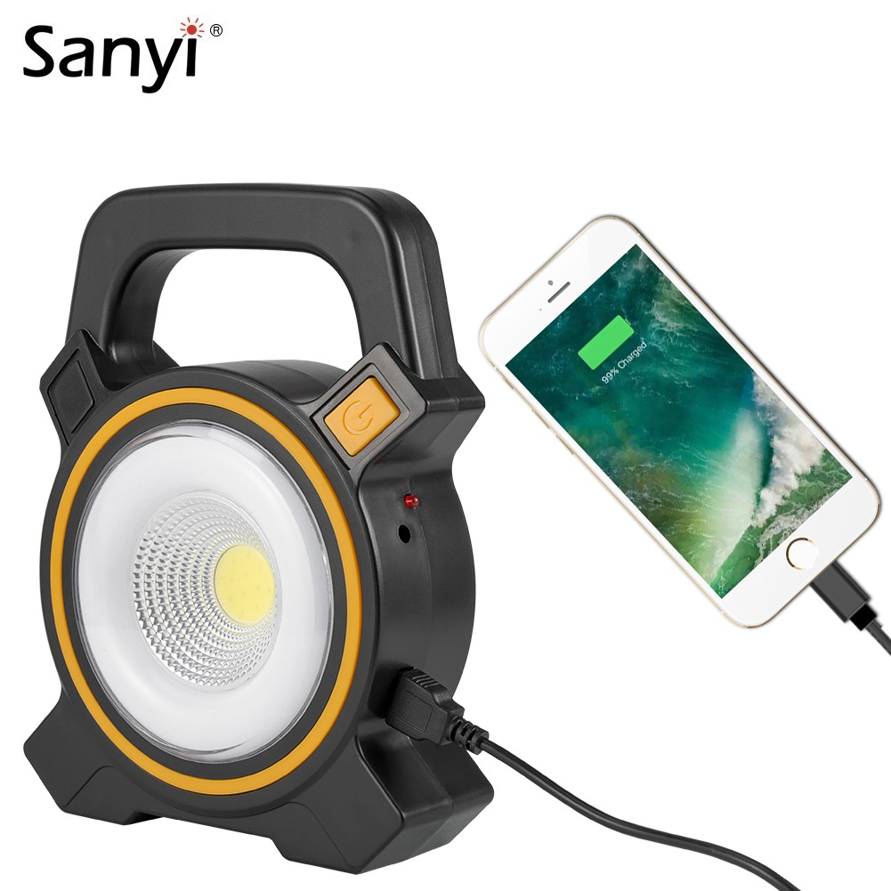 Sanyi Handheld Portable Lantern USB Rechargeable COB LED Solar Flashlight Work Lamp 2 Modes Outdoor Tent Light Mobile Power Bank