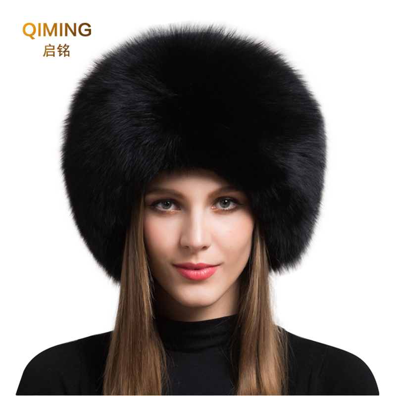 Ladies 100% Real Fox Fur Hat Women Winter Warm Luxury Ski Head Ear Warmer Earmuff Fluffy Sheepskin Warm Snow Cap