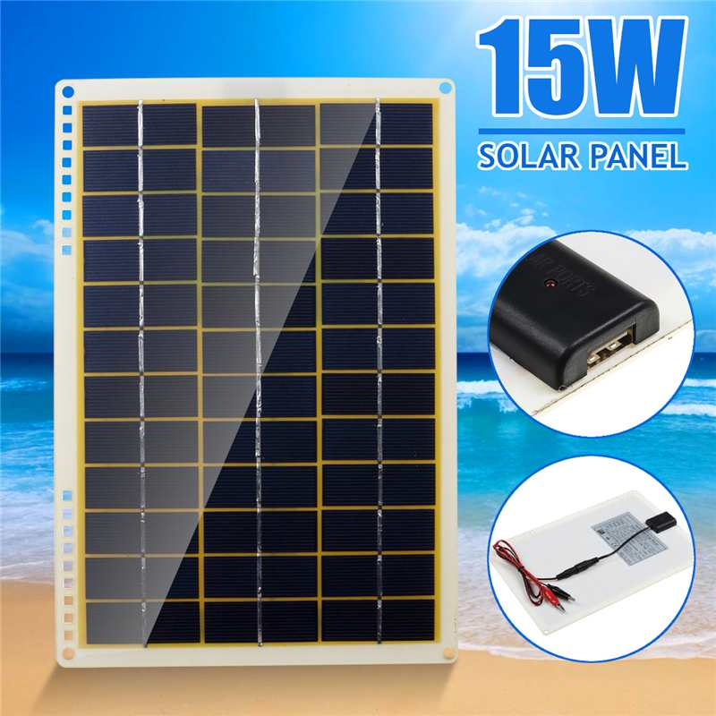 15W Solar Panel 12V Polycrystalline Solar Panel with Line Clip 4X Suction Cups for Outdoor Camping Emergency Light Waterproof