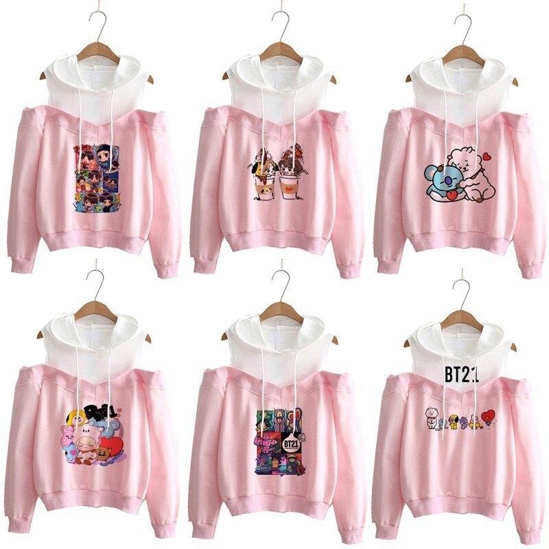 bt21 Hoodie kpop Hoodies Women Femele Bts Pullover cartoon Sweatshirts For female k pop Highstreet K-pop Hooded