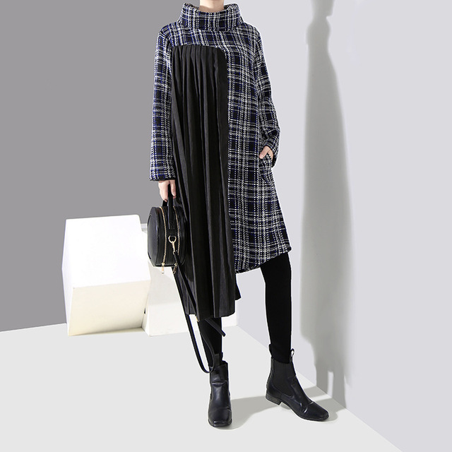 [EAM] 2019 New Spring  Winter High Collar Long Sleeve Black Plaid Printed Side Pleated Stitch Loose Dress Women Fashion JK830 1