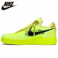 Nike Air Force 1 Off white Ow New Arrival Women Skateboarding Shoes Fluorescence Green Comfortable Sneakers#AO4606 700