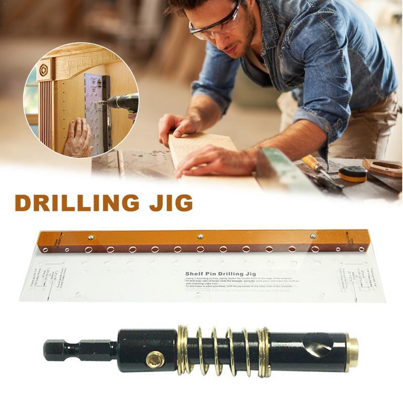 Woodworking Dowel Jig Drilling Locator Guide Hinge Mounting Shelf Pin Home Bit Tool Self Centering for Furniture Cabinet Door