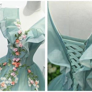 Image 4 - Parti sanat performans sahne Solo kostüm koro elbise işlemeli Dames Couture asil zarif elbisesi doğum günü