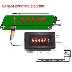 DC 12v 24 6 Bit wyświetlacz LED cyfrowy licznik licznik elektroniczny zgromadzone miernik alarmu z wyjścia sterującego dla silnika