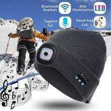 Thefound Fashion Warm Beanie Bluetooth LED Hat Wireless Smart Cap Headset Headph
